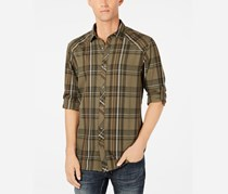 INC International Concepts Mens Marc Plaid Shirt, Tank/Olive