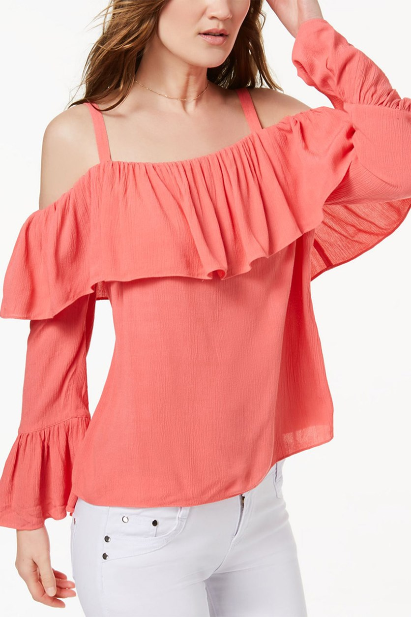 International Concepts Ruffled Cold-Shoulder Top, Polished Coral