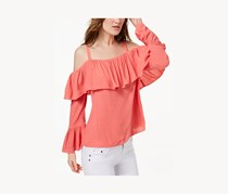 Inc Women's Ruffled Cold-Shoulder Top, Polished Coral