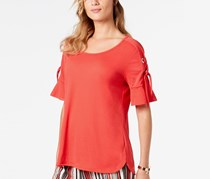 Women Lace Up Ruffle Sleeve Top, Red Crystal