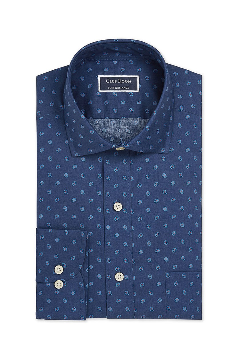 Men's Regular Fit Stretch Pine Print Dress Shirt, Blue