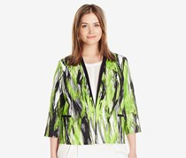 Kasper Women's Printed Twill Open Front Jacket Blazer, Green Combo