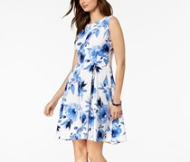 Kasper Floral-Print Fit & Flare Dress, Blue Combo