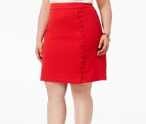 Nine West Cherry Texture Crepe Skirt with Side Buttons, Cherry