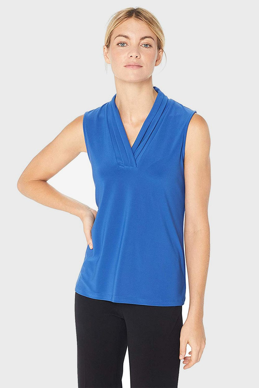 Sleeveless Pleated Top, Cezanne Blue