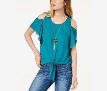 BCX Women's Cold Shoulder Tie Front Top, Dark Teal