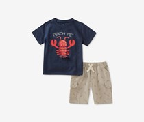 Kids Headquarters Lobster-Print Top And Bottom, Blue/Light Gray