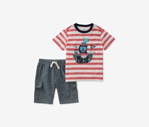 Kids Headquarters Baby Boys 2-Pc. Cotton Graphic-Print T-Shirt & Shorts Set, Red/Navy Combo