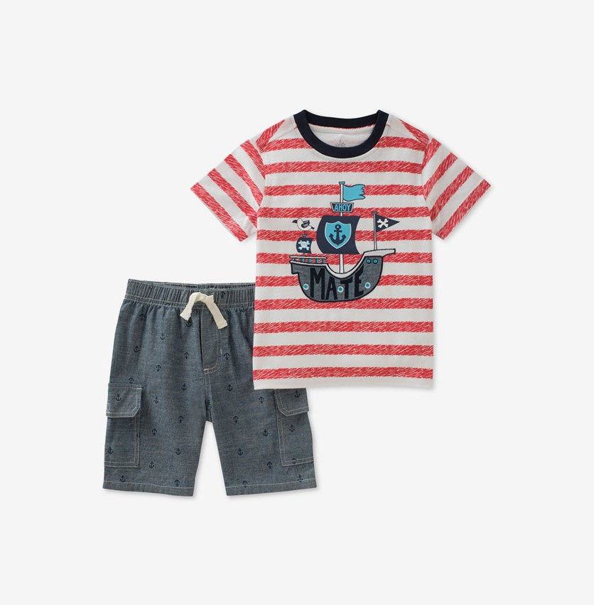 Baby Boys 2-Pc. Cotton Graphic-Print T-Shirt & Shorts Set, Red/Navy Combo