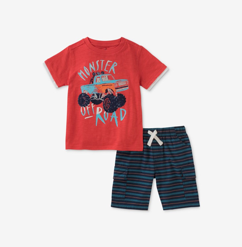 Baby Boys 2-Pc. Graphic-Print T-Shirt & Shorts Set, Red/Navy Combo