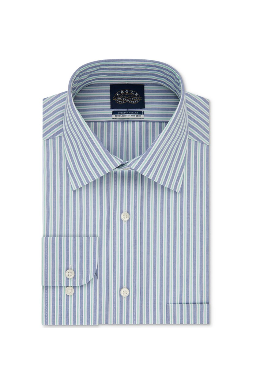 Men's Classic/Regular Fit Non-Iron Flex Collar Stripe Dress Shirt, Blue