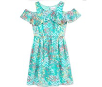 Bloome de jeune Fille Floral-Print A-Line Dress, Blue