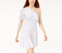 The Edit By Seventeen Juniors Lace One-Shoulder Dress, White