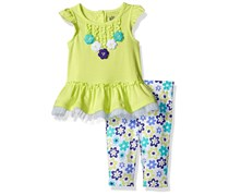 Kids Headquarters Girl's Top & Leggings Set, Lime Green