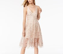 Xscape Embroidered Mesh Fit Flare,  Blush