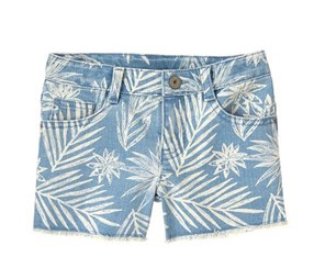 Crazy 8 Girl's Palm Jean Shorts, Light Wash Denim