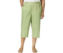 Alfred Dunner Plus Size Button-Cuff Capri Pants, Sage