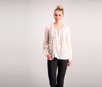 Lucky Brand Pintucked Lace-Up Top, Beige