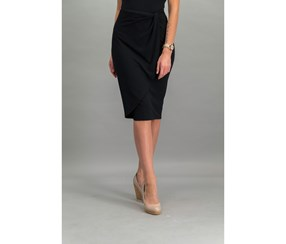 Bar III Draped Faux-Wrap Skirt, Deep Black