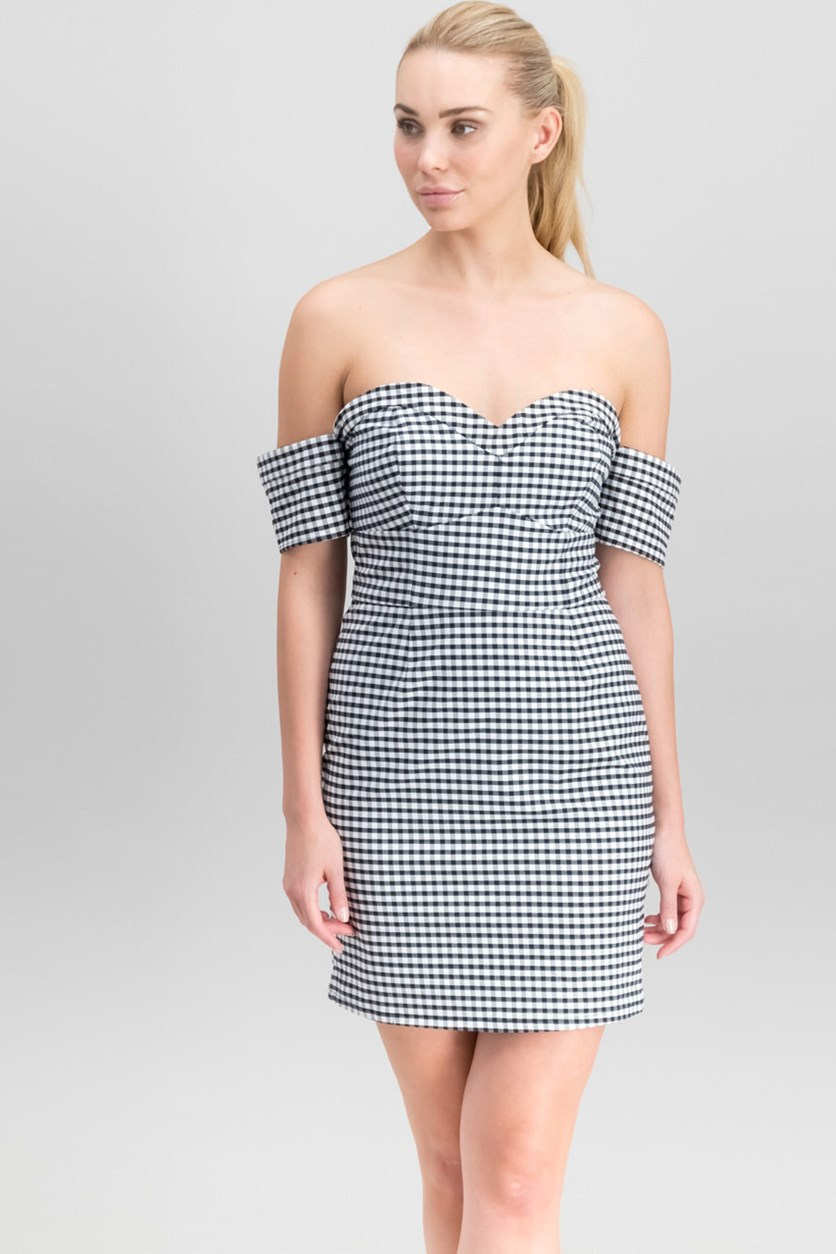 Women Off-The-Shoulder Gingham Bodycon Dress, Black