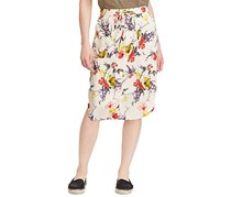 Ralph Lauren Floral Skirt, Off White/Yellow/Red