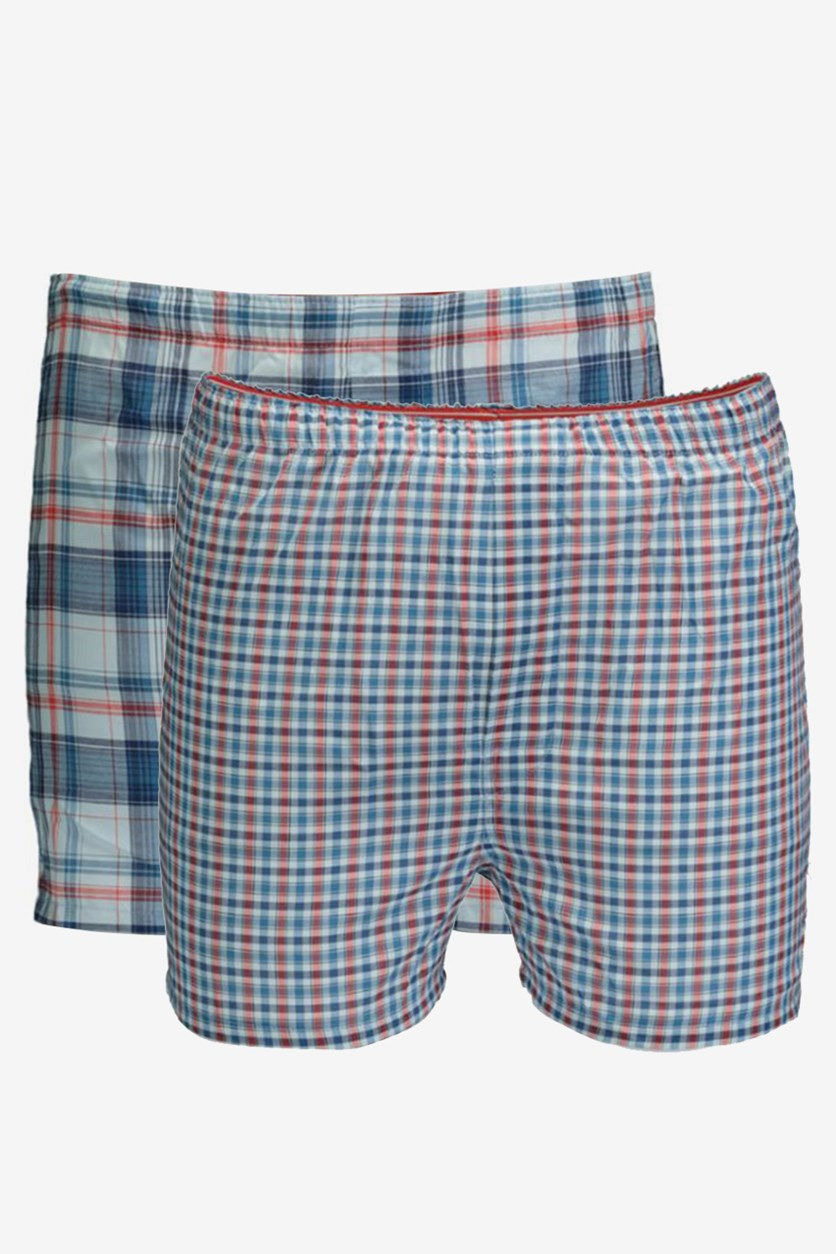Boys' 2-Pack Woven Boxers, Blue Combo