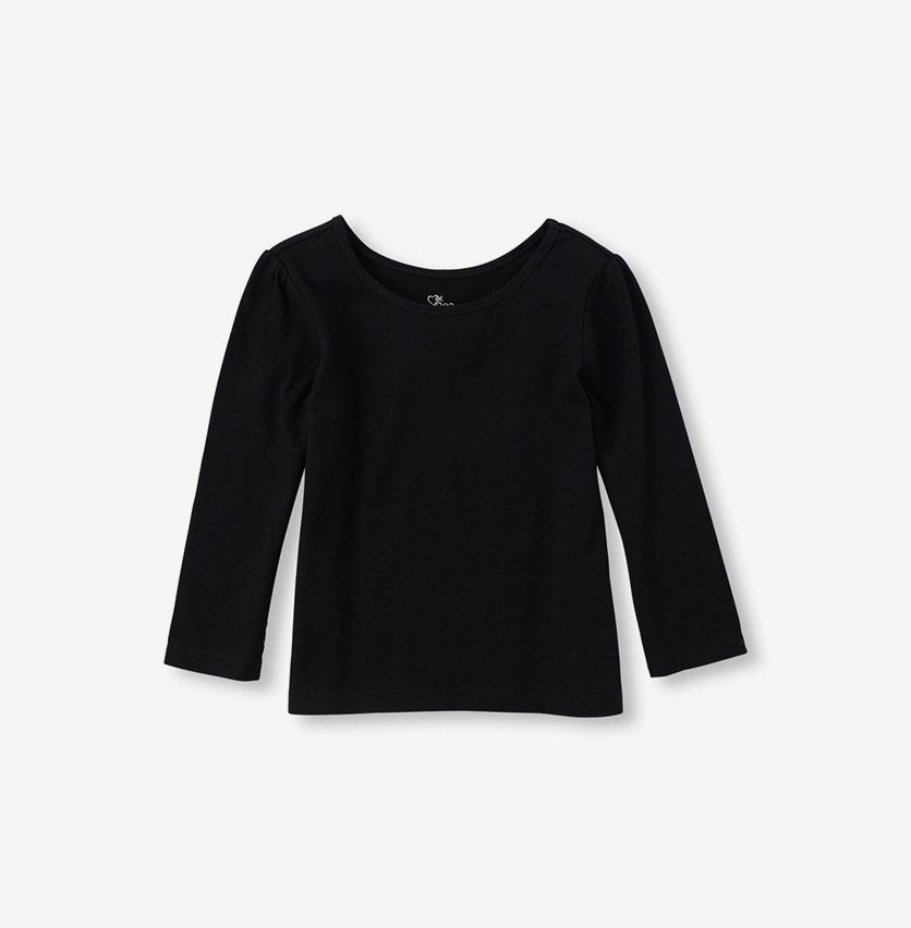 Toddlers Girls Plain Longsleeve Tee, Black