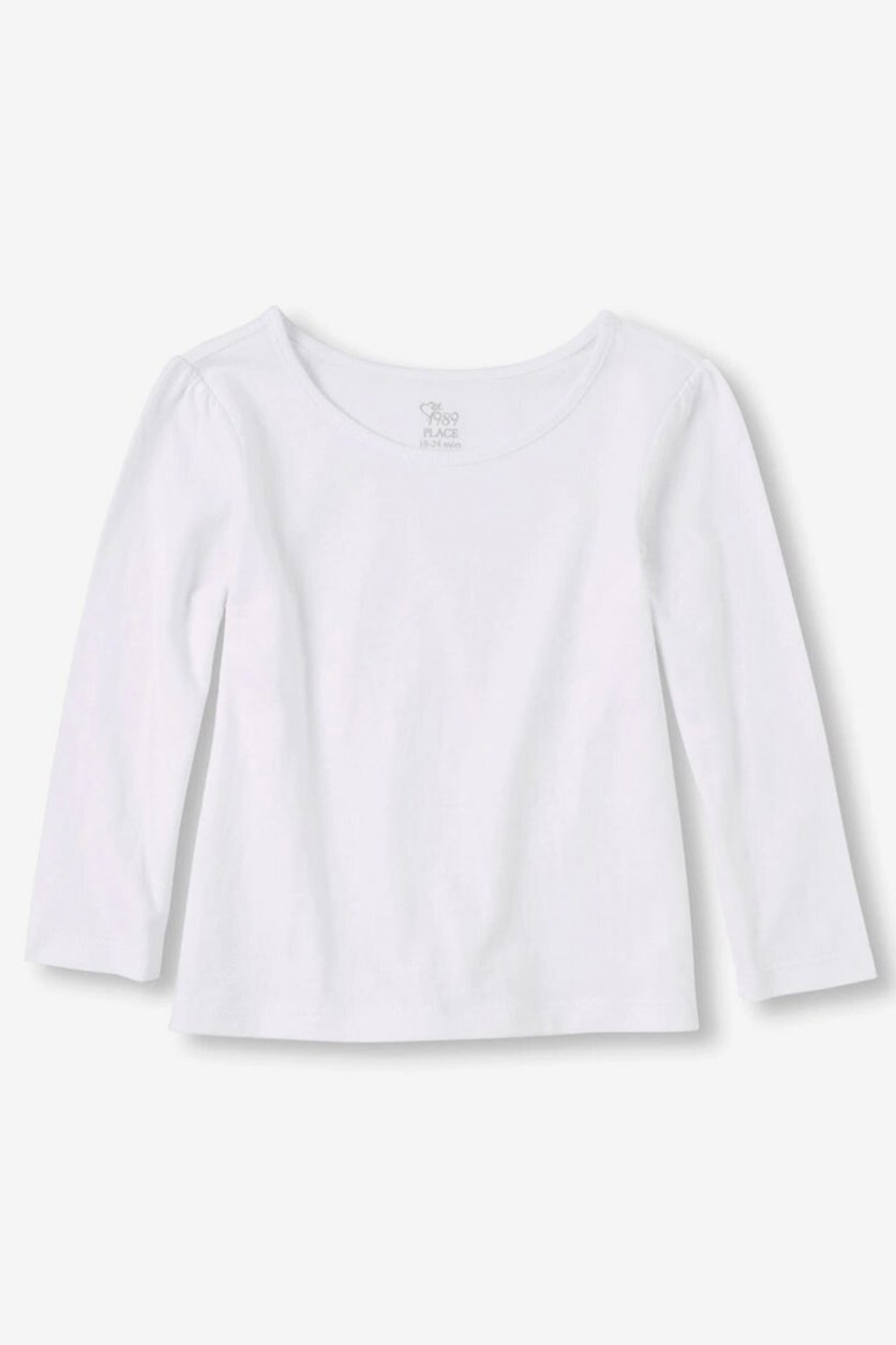 Little Girl Long Sleeve Top, White
