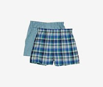 Perry Ellis Boys' 2-Pack Woven Boxers, Blue/Green