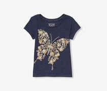 The Children's Place Toddler Girls Foil Glitter Graphic Tee, Evening Blue