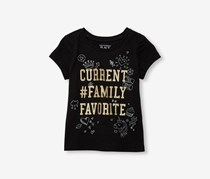 The Children's Place Toddler Girls Glitter Doodle Graphic Tee, Black
