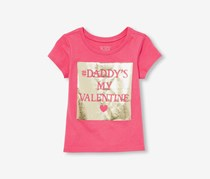 The Children's Place Toddler Girls 'Daddy's My Valentine' Graphic Tee, Zinnia Pink