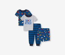 Little Boy's Snack Attack Printed Set 4 Pieces, Grey Combo