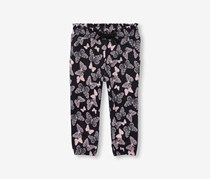 Toddler Girls Printed Knit Pants, Black Combo