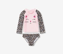 The Children's Place 2 Pcs. Graphic Swimwear, Pink/Leopard