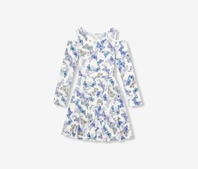 Girls Butterfly Print Cold-Shoulder Knit Dress, Simply White