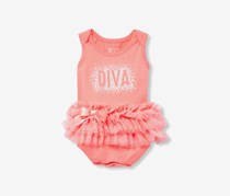 The Children's Place Layered Lace Bodysuit, Peach Jam
