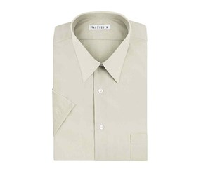 Van Heusen Short Sleeve Poplin Solid Dress Shirt, Stone