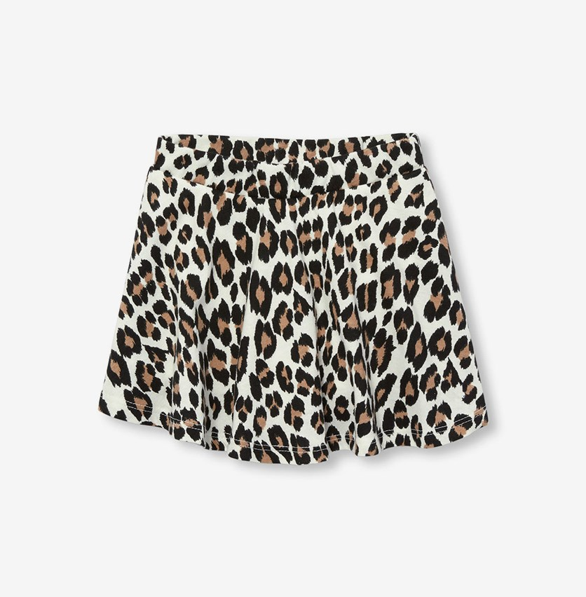 Toddler Girls Leopard Print Knit Skort, Bunnys Tail