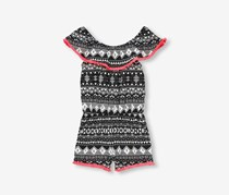The Children's Place Fringe Printed Romper, Black/Neon Pink