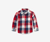 The Children's Place Toddler Boys Plaid Cotton Twill Button-Down Shirt, Tango Red