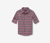 Big Boys Plaid Roll Tab Casual Shirt, Lotus Flower