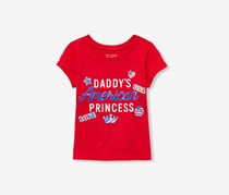 Little Girls Graphic Print Top, Ruby