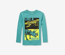 Boys Long Sleeve Like a Boss Dino Graphic Tee, Brittany Blue