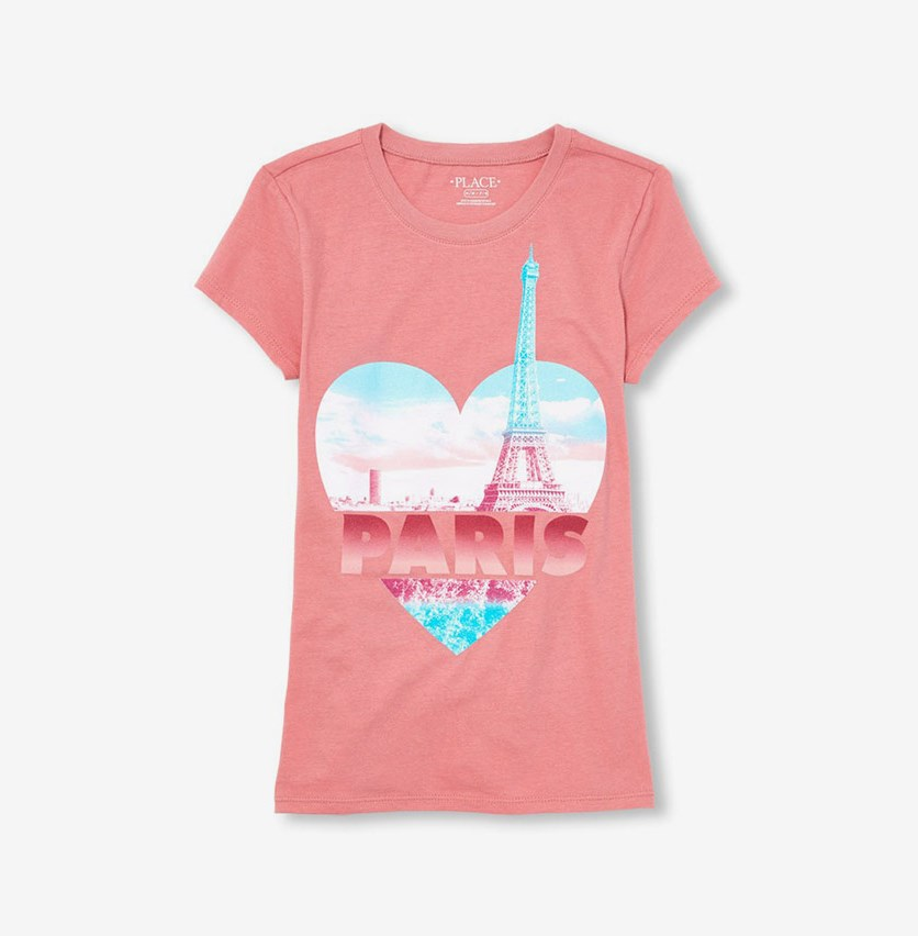 Girls Short Sleeve Glitter Heart 'Paris' Graphic Tee, Mauve
