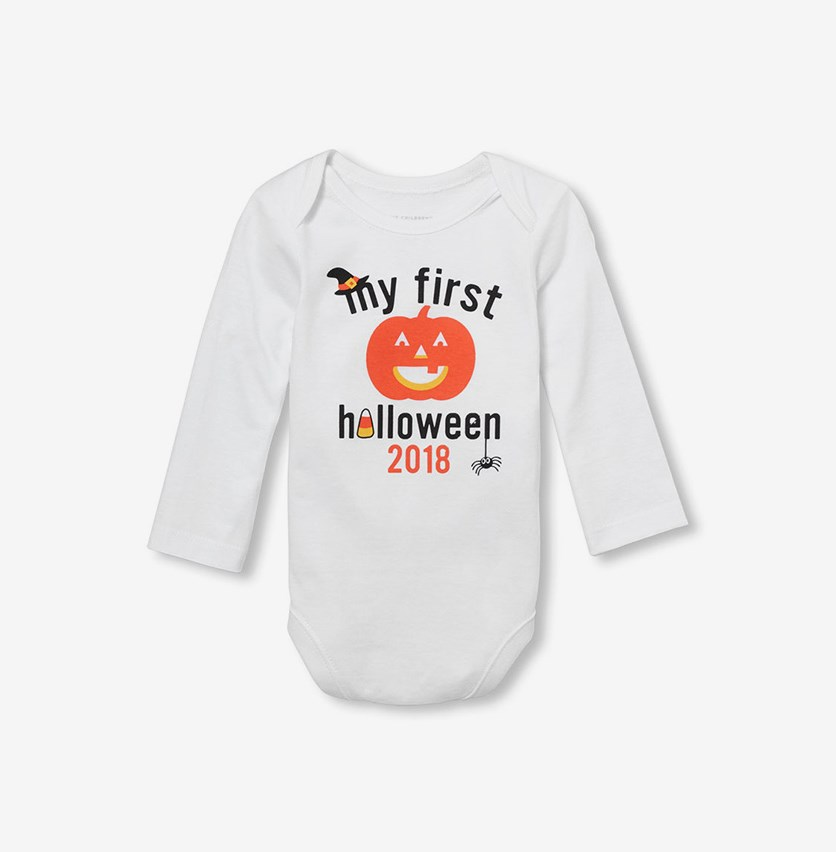 Toddlers Printed Bodysuit, White