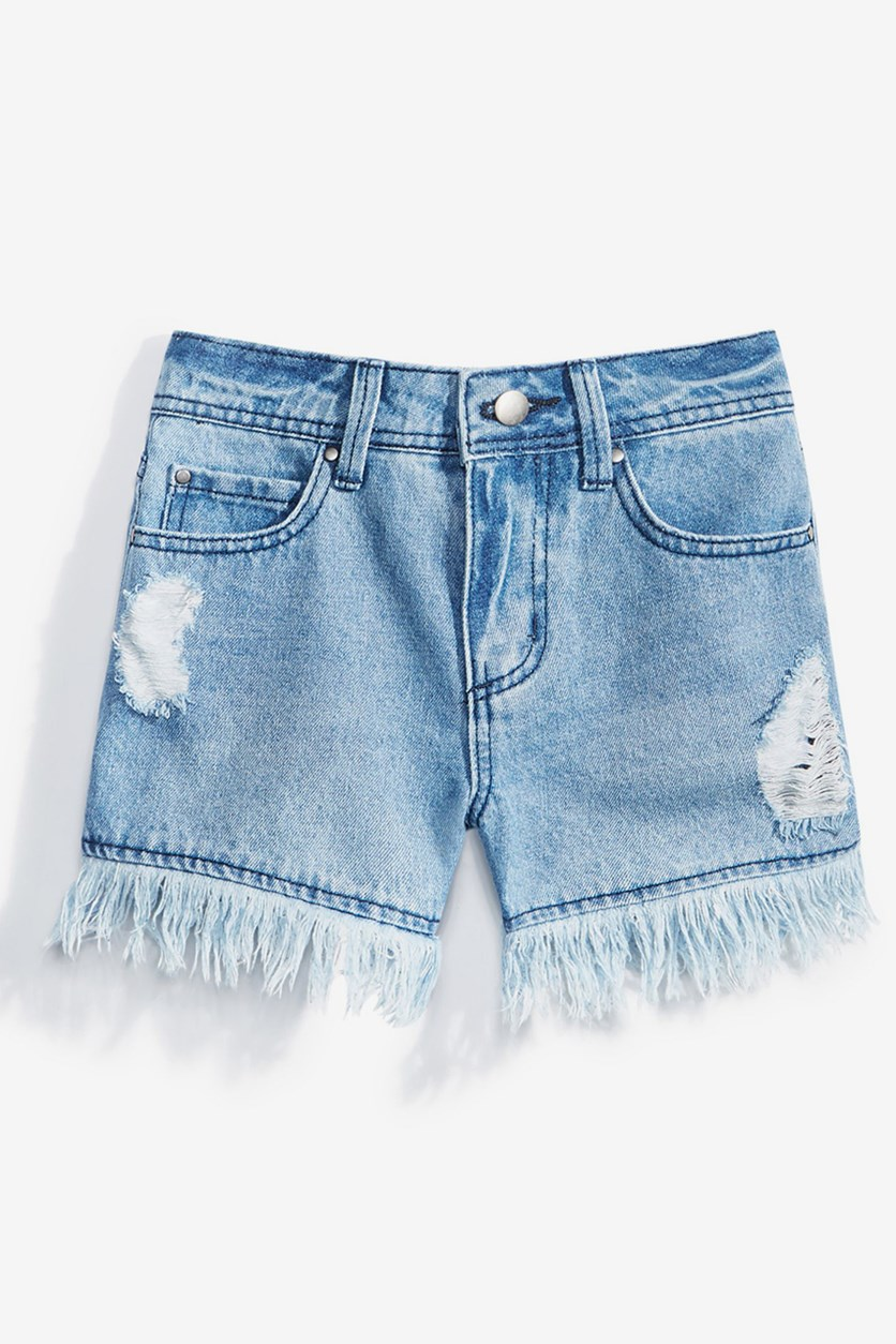 Fringe-Trim Denim Shorts, Dark Blue