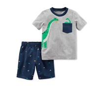 Carter's Boy's Dino-Print Cotton T-Shirt & Shorts Set, Gray/Navy