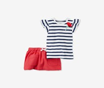 Carter's  Baby Girls 2-Pc. Stripe Poppy Top & Skort Set, Pink/White/Navy