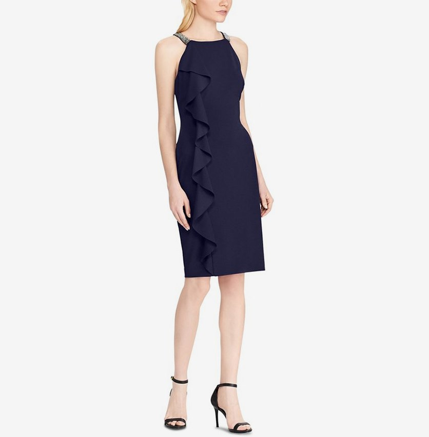Women Ralph Lauren Ruffled Halter Dress, Navy